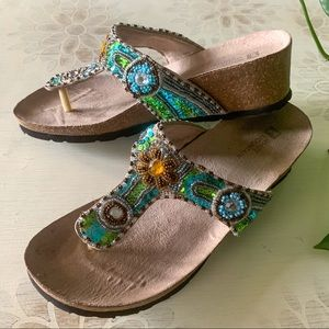 WhiteMountain- beaded - wedge sandals- 7 1/2 M